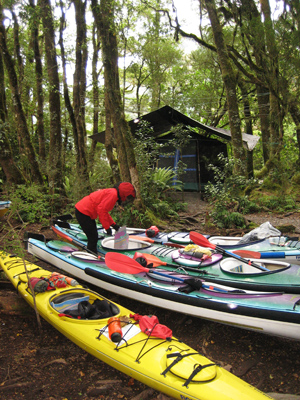 Kayaks and sandfly shelter