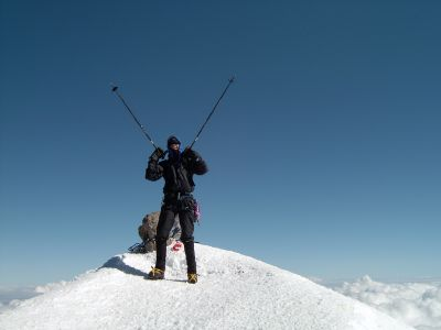 Hans Bräuner-Osborne on the summit of Mount Elbrus, Caucasus, Russia